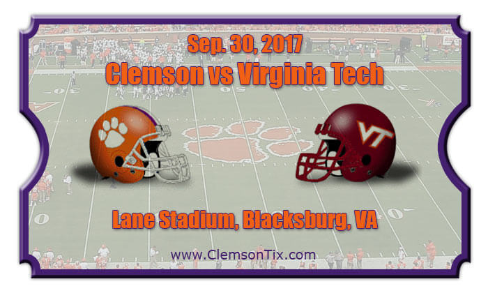 Clemson Tigers Vs Virginia Tech Hokies Football Tickets
