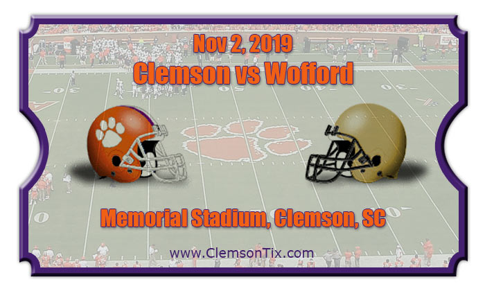 Clemson Tigers Vs Wofford Terriers Football Tickets 11 02 19